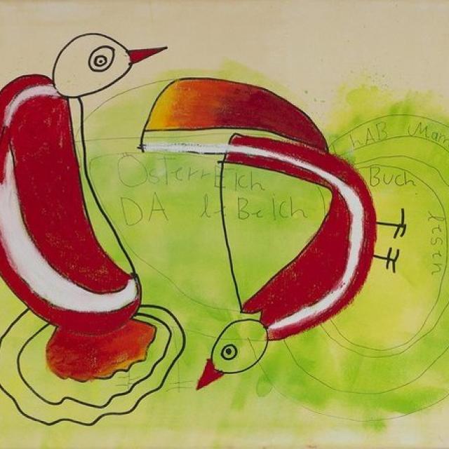 Abstrakte Kunst mit 2 Vögeln