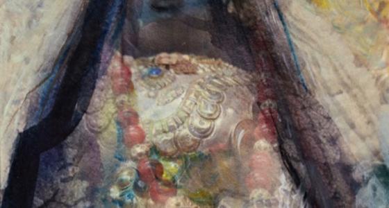 """Aus der Serie: """"Bilder der Blüten"""". Mischtechnik auf Leinwand 110/140 cm"""